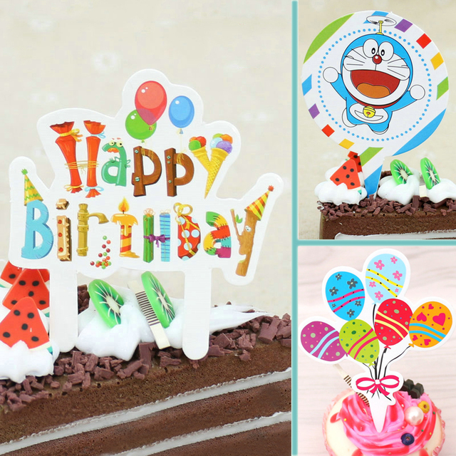 50pcslot Kawaii Cupcake Cake Toppers Happy Birthday Cake Flags Plug