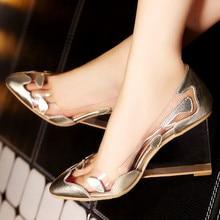 Damen Pumpt Hohe Keile Echtem Leder Marke Schuhe Frauen Party Casual Diaphanous Transparenter Heels Kristall Elegante Sexy Schuh
