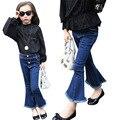 Calças Criança Calça Jeans Boot Cut criança Calças para Jeans Menina 2T-12 Fall Primavera Roupas de Marca Crianças Roupas de bebê Borla Sólida calças