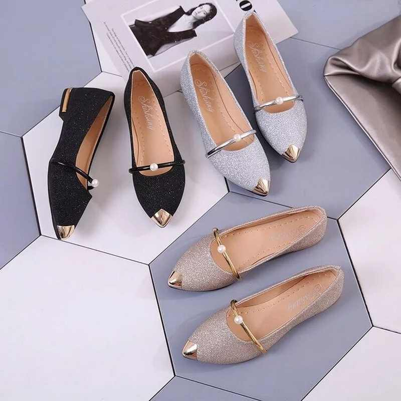 Femmes chaussures plates printemps Bling or bout pointu Mary Janes chaussures femme sans lacet chaussures plates perle dames chaussures mocassins confortables