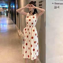 Women Dress Polka Dot Print Chiffon Sleeveless Ladies Elastic Waist Dress 2019 Summer Women Beach Party Dresses Midi Vestidos stylish sleeveless polka dot chiffon dress for women