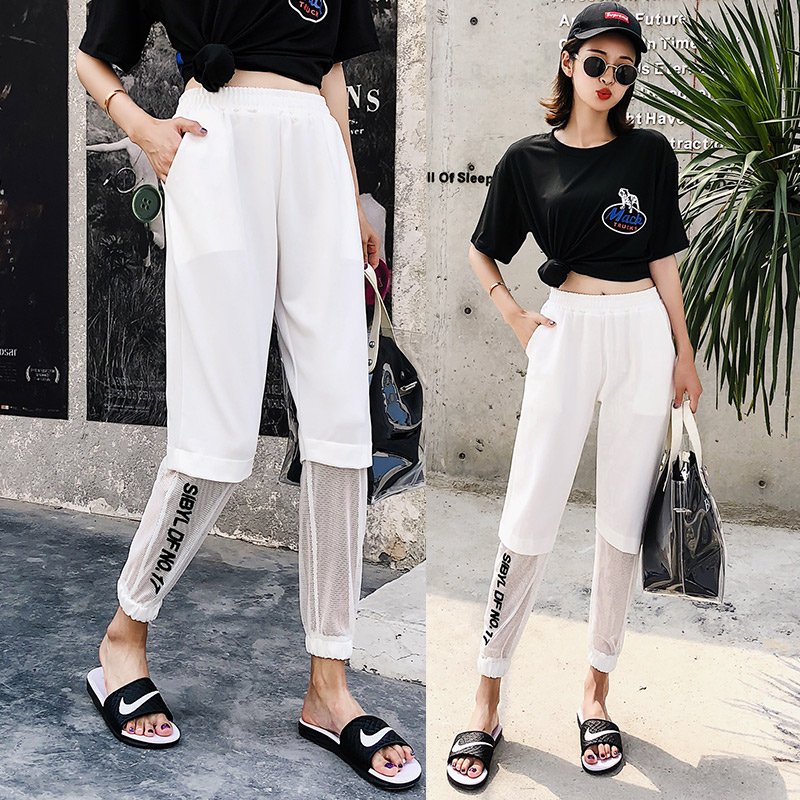 10dcc7d261bcf Fashion Hollow Out Gauze Stitching ankle-length Harem Pants Women Plus Size  2018 Summer New Arrival Female Trousers Bottoms