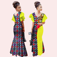 2017 African Dress Cotton Wax Printing Printed Dress Multi Color Optional African National Clothing