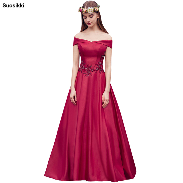 Suosikki 2018 Hot Sale boat neck Lace Long Evening Dress Floor Length  Vintage Robe De Soiree Prom Dresses Modest 0f84d259ee29