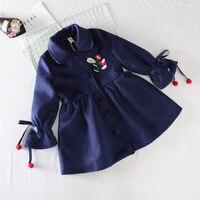 Dziewczyna zima Aksamitne Ciepłe Haft Kurtki Płaszcze Koreański Odzież Dla Dzieci Baby Girl Długie Kurtki Dla Dzieci Dzieci Znosić na Dziewczynę