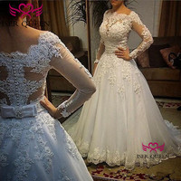 Pearls Beading Slight Delicate Embroidered Lace Bride Dresses 2020 Long Sleeves Sashes Bow Wedding Dresses pure white w0050