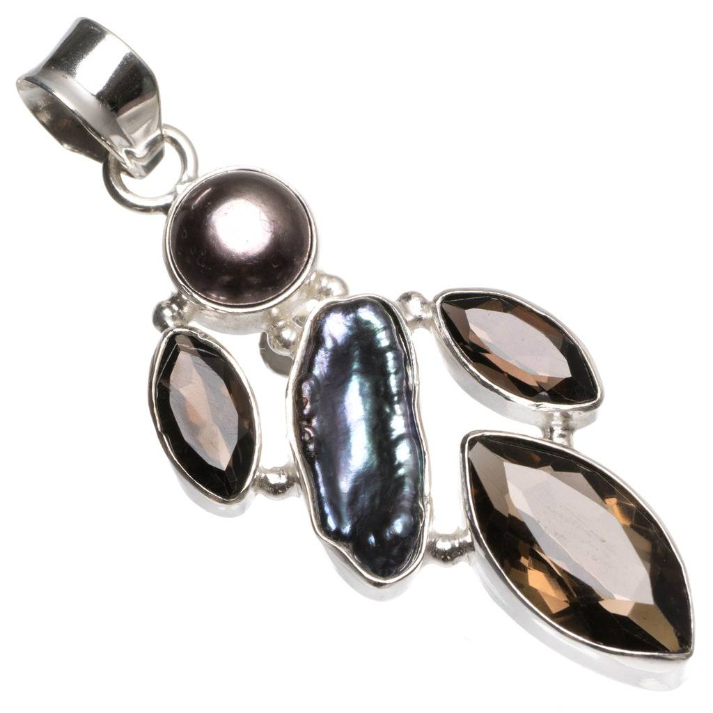 Natural Smoky Quartz,Biwa Pearl and River Pearl Vintage 925 Sterling Silver Pendant 2
