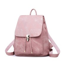 2 Pieces / Set Of Ladies Backpack Pu Leather Female Backpack Casual Girl School Backpack Travel Beam Pocket(China)