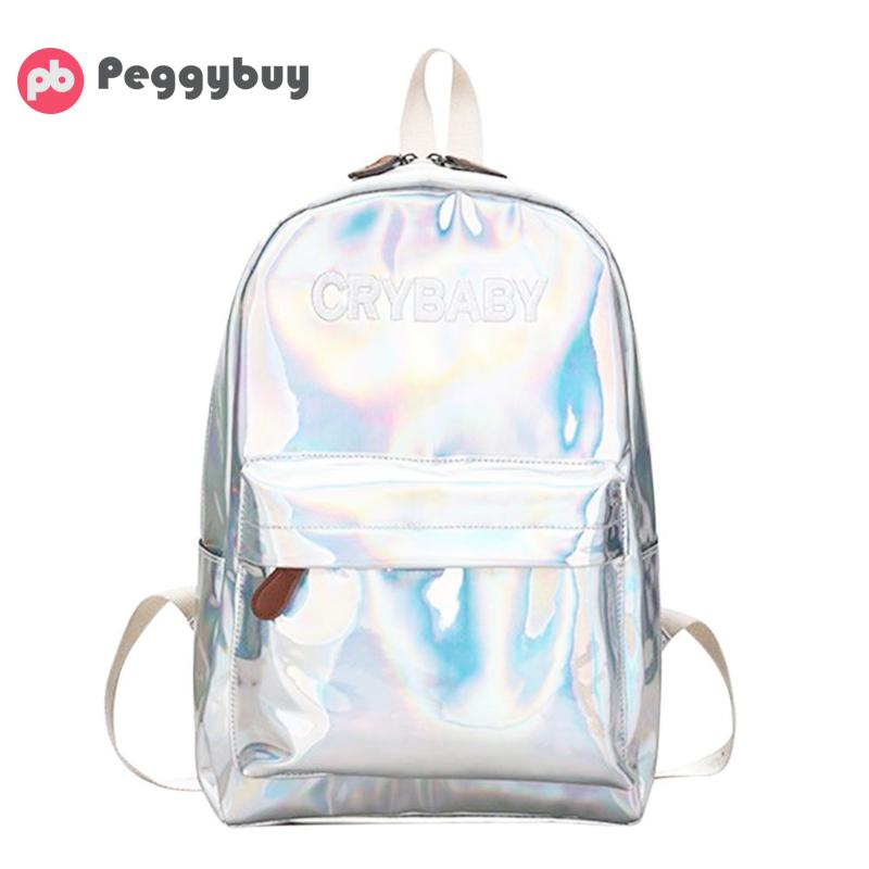Street Preppy Women Holographic Backpack Schoolbag PU Leather Laser Travel Backpack School Bags for Teenager Girl Boy Sac a DosStreet Preppy Women Holographic Backpack Schoolbag PU Leather Laser Travel Backpack School Bags for Teenager Girl Boy Sac a Dos