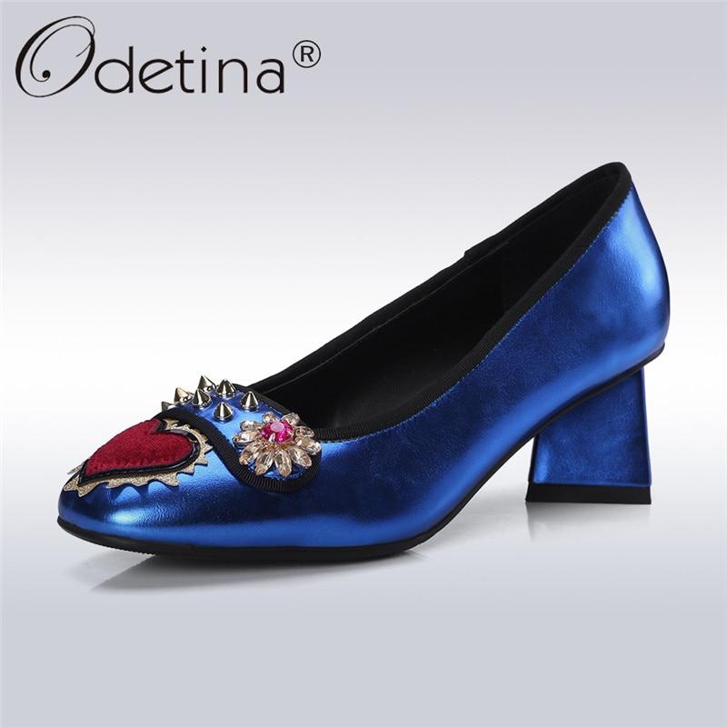 Odetina 2018 New Fashion Square Heel Pumps For Women Crystal Flower Slip On Sweet Shoes Ladies Rivet Square Toe Pump Big Size 43 sweet striped and rivet design satchel for women