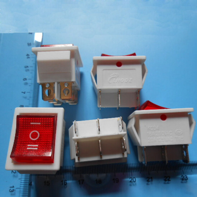 Open-Minded 10pcs Power Switch Button Rocker Switch 6 Pin 3 Files Llluminated 16a 250v 31 Lighting Accessories Lights & Lighting 25mm White