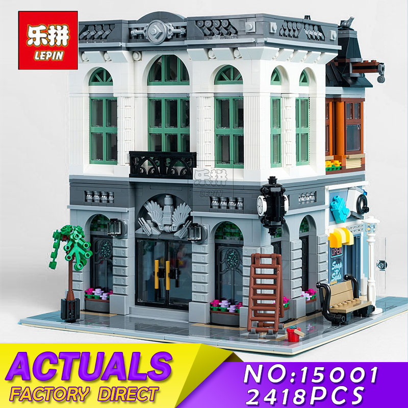 LEPIN 15001 2413Pcs City Creator Brick Bank Model Educational Building Kit Blocks Bricks Toys for Children Compatible With 10251 led light up kit gor city model building block figures accessories kit toys for children compatible with lepin