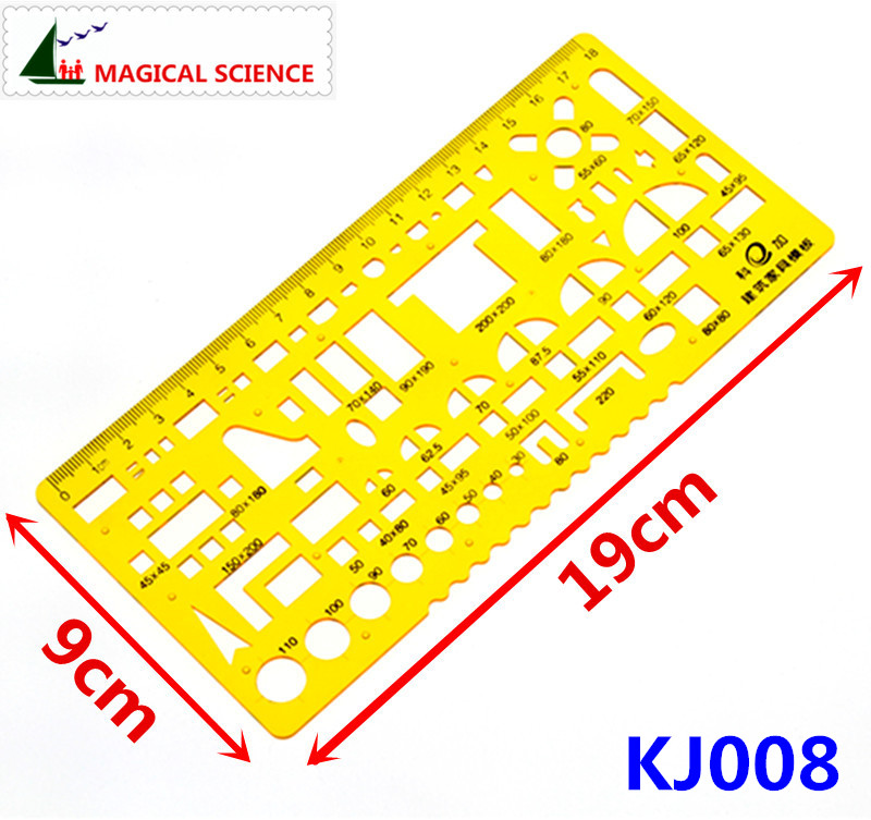 18cm Transparent Plastic Construction Furniture Drawing Template Building Design Ruler For Students Designers KJ008