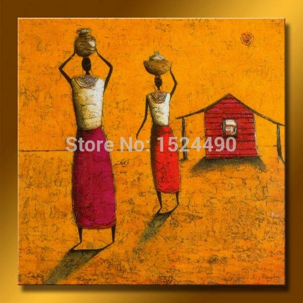 Populair Handgeschilderd Moderne Abstracte Schilderijen Afrikaanse Vrouwen #KC52