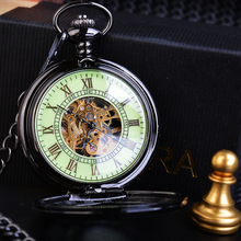 Vintage Watch Roman Analog Steampunk Skeleton Mechanical Fob Pocket Watches Clock Pendant Hand-winding Men Women Long Chain Gift ks retro black skeleton alloy case hand wind mechanical long chain clock steampunk style analog men jewelry pocket watch ksp047