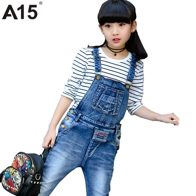 A15 de jeans crianças calças crianças calças crianças calças de brim com suspensórios jean macacão Jeans Crianças Menina Macacão Crianças Idade 8 10 12 14 Anos