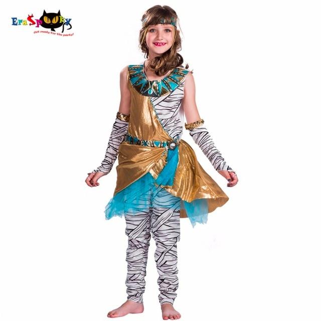 3e16182d51cd 2019 Cleopatra Mummy Zombie Cosplay Ragazze Costume di Halloween Per I  Bambini Antico Egitto Carnevale Vestito