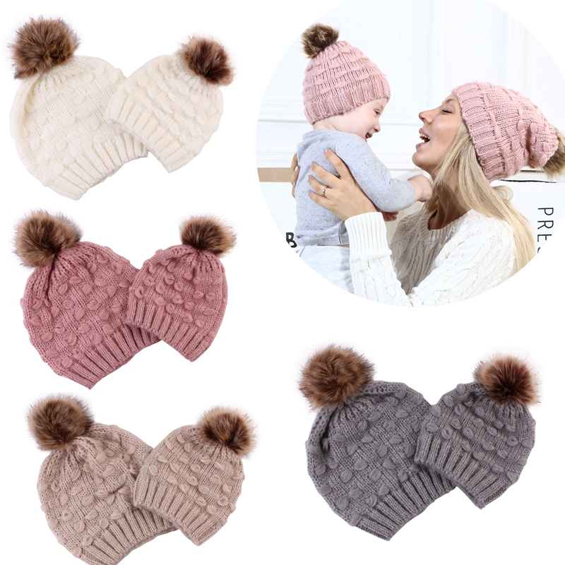 2027a25b4 2019 New Family Match Knit Hat Mother Kid Boys Girl Knitted Crochet ...