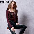 Artka Women's Autumn New Boho Style Ethnic Embroidery T-shirt Fashion O-Neck Long Sleeve Comfy Tees TA10066Q