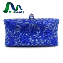 Milisente Flower Diamond Clutches Black Designer Bags Women Evening Bag Luxury Crystal Wedding Clutch Party Purse