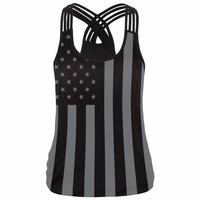 2017 New Summer Style Women Sexy Tops USA Flag Sleeveless 3D Print Fitness Casual Tank Tops