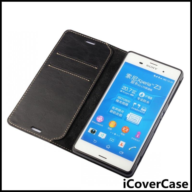 Цена за Icovercase мягкий верх натуральная кожа бумажник чехол ТПУ чехол для Sony Xperia Z3 D6603, D6643, D6653, D6616 принципиально Капа capinhas ETUI