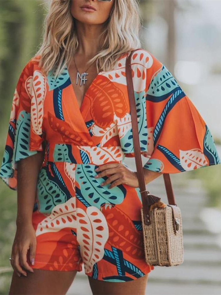 2019 Summer Women Elegant Vacation Leisure Casual Playsuit Female Stylish   Jumpsuit   Bell Sleeve Botanical Print Romper