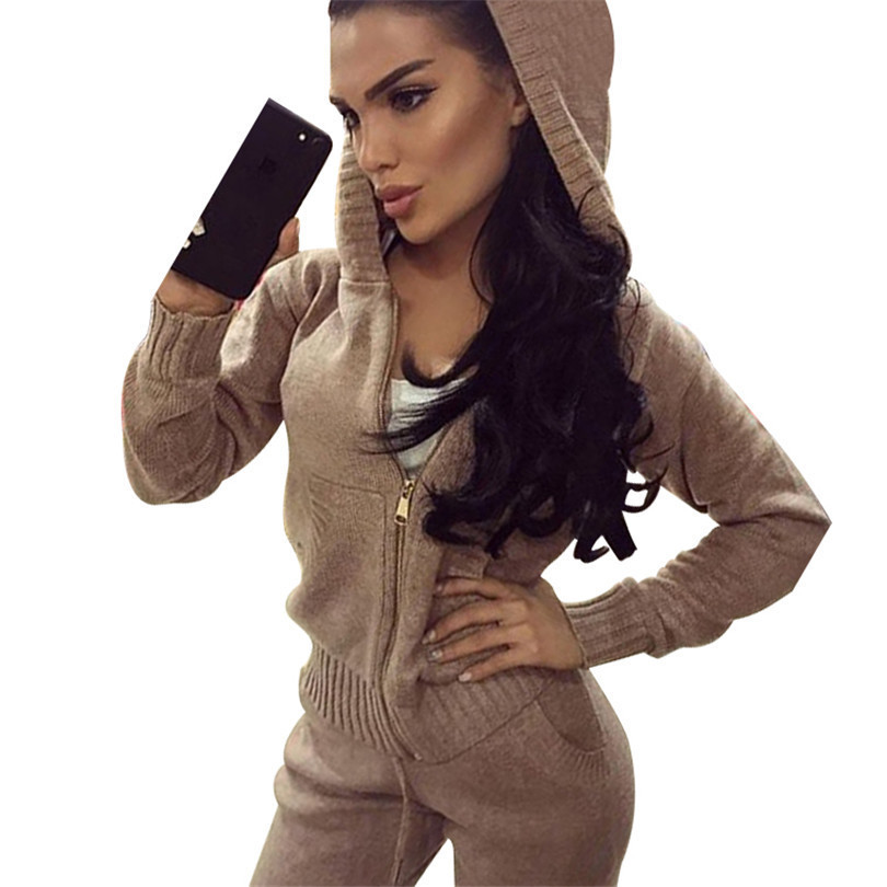 Tapakva pocket and zipper knitted wear knitting tracksuits 2 sets hooded sweater sportswear ...