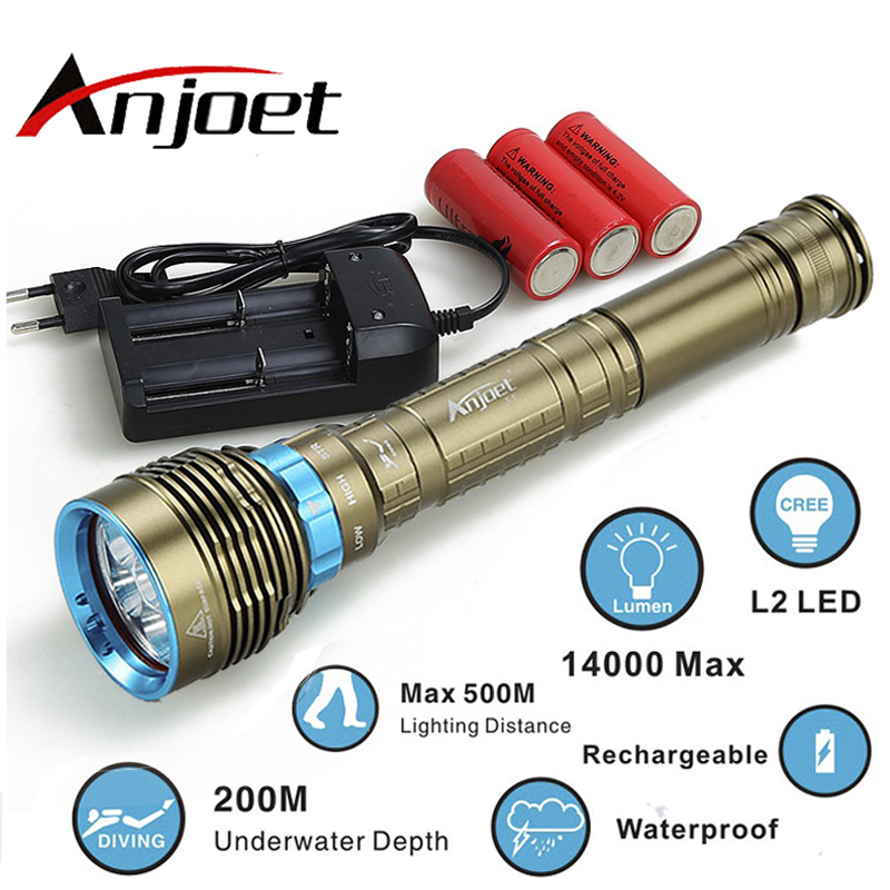 Anjoet 70W 3-Mode 14000LM XM 7x L2 T6 LED Scuba Diving Flashlight Torch 200M Underwater Waterproof Light Lantern 18650 or 26650 scuba dive light