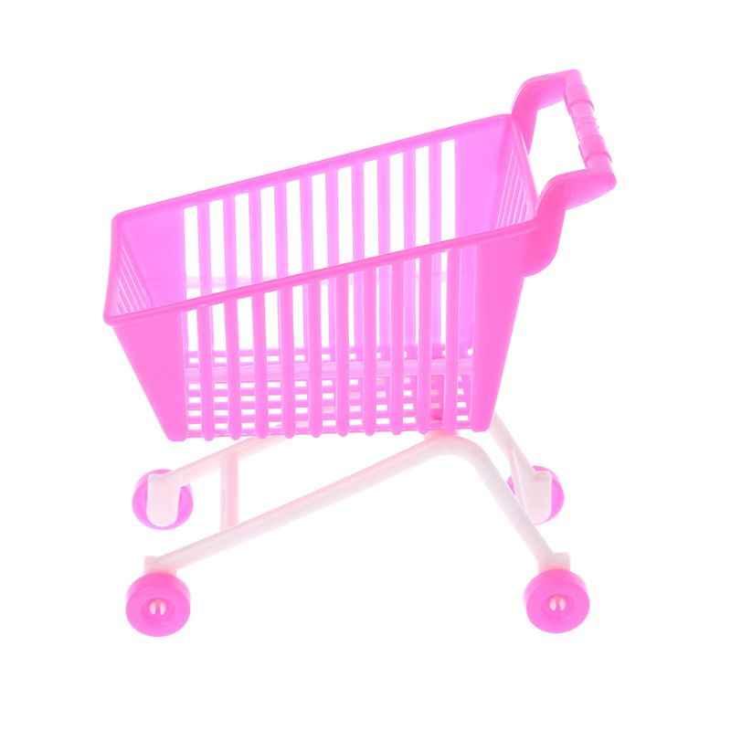 دمية عربة التسوق اليد شاحنة التظاهر اللعب دمية عربة محاكاة اللعب عربة سوبر ماركت صغيرة