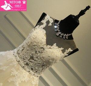 Image 4 - Zarif A Line dantelli fransız gelinlik Ayrılabilir kemer Şampanya Robe De Mariage Vestido De Noiva Mide nova MTOB1703
