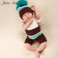 Crochet Baby Set Pattern Blue White Brown Pom Pom Hat Pants Newborn Boys Girls Knitting Photography