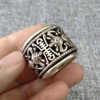 china tibet silver middle part carving will turn relief process, ring