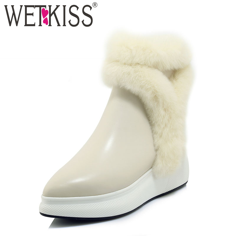 WETKISS 2018 Fashion Casual Women Ankle Snow Boots Pointed Toe Footwear Leather Fur Female Boot Platform Girl Shoes Woman Winter wetkiss 2018 genuine leather rabbit fur shoes woman ankle boots zipper wedges winter boots pointed toe platform footwear female
