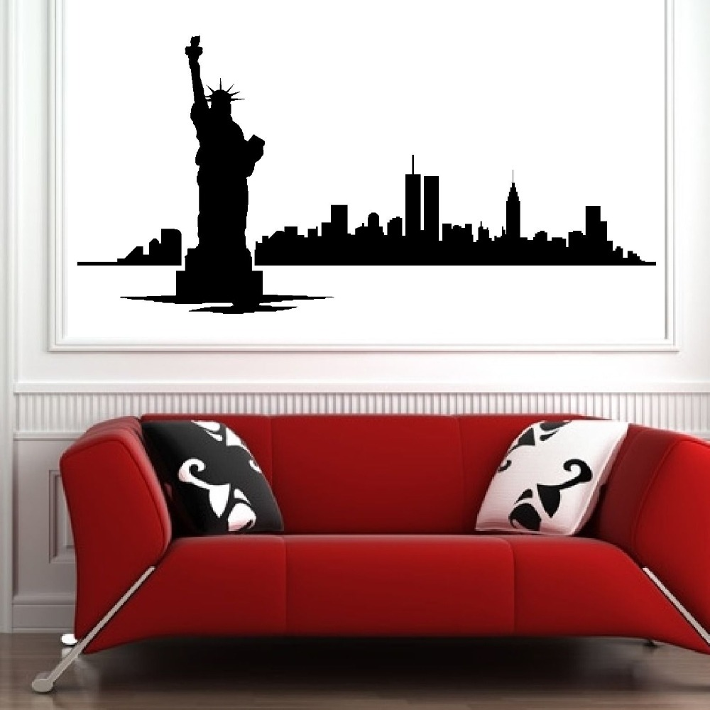 New york skyline modern city picture wall decals vinyl for Room decor 5d stickers