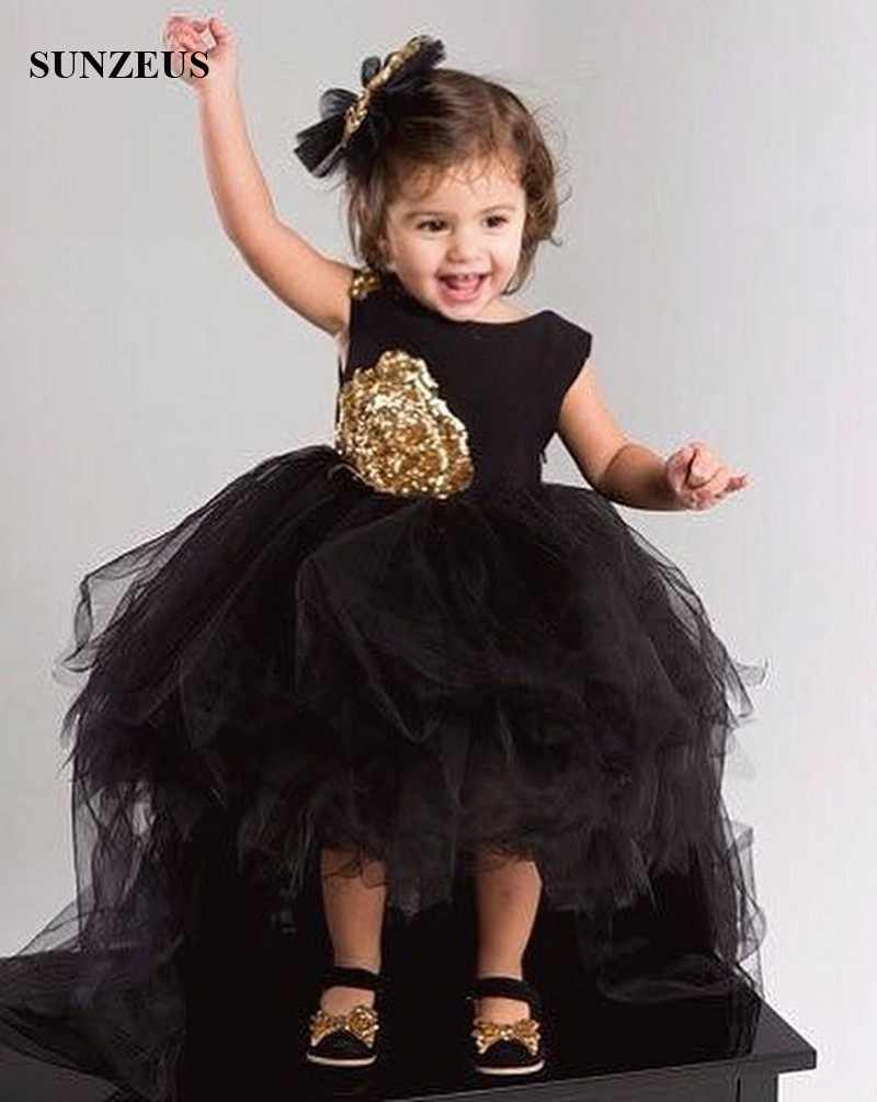 3747e017fe482 Black Flowers Girls Dress Short Front Long Back Tulle Party Dresses For  Childern High Low Puffy Kids Birthday Gown FLG006