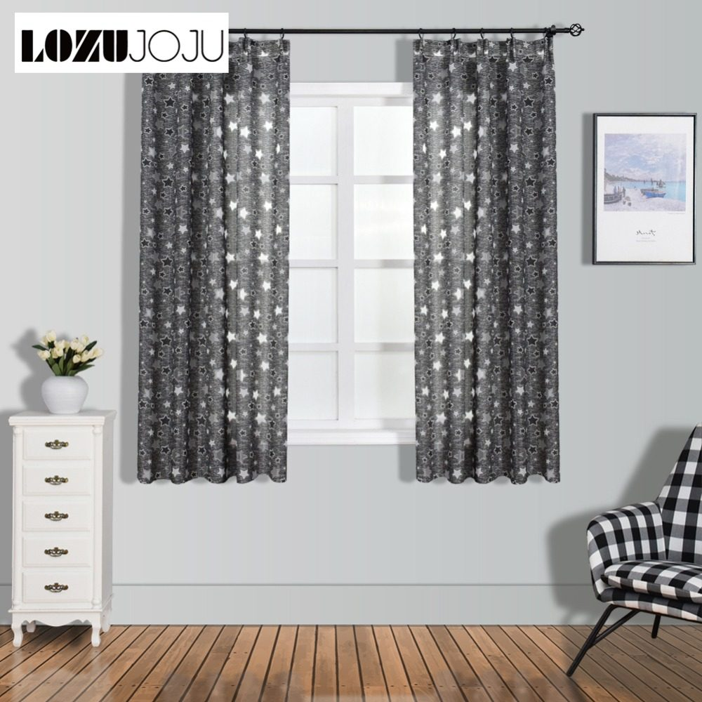 NAPEARL Geometric Stars Short Jacquard Living Room Curtains Voile Fabrics  Elegant Window Screening Semi Shades Decorative Drapes