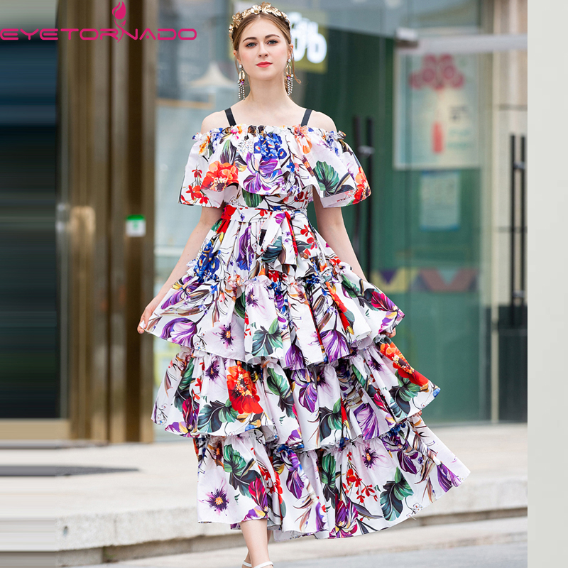 Imprimer Cou 2019 Shown Printemps Robes Femmes Élégante Slash Recueillir Sangle E6784 Robe As Rétro Tempérament Vintage Spaghetti Taille x4fq8XPwq