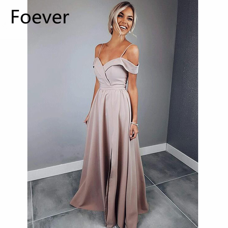 2019 Dusty Pink   Evening     Dresses   Sweep Train Sweetheart Spaghetti Straps Lace Up Satin Formal   Evening   Party   Dress   for Women