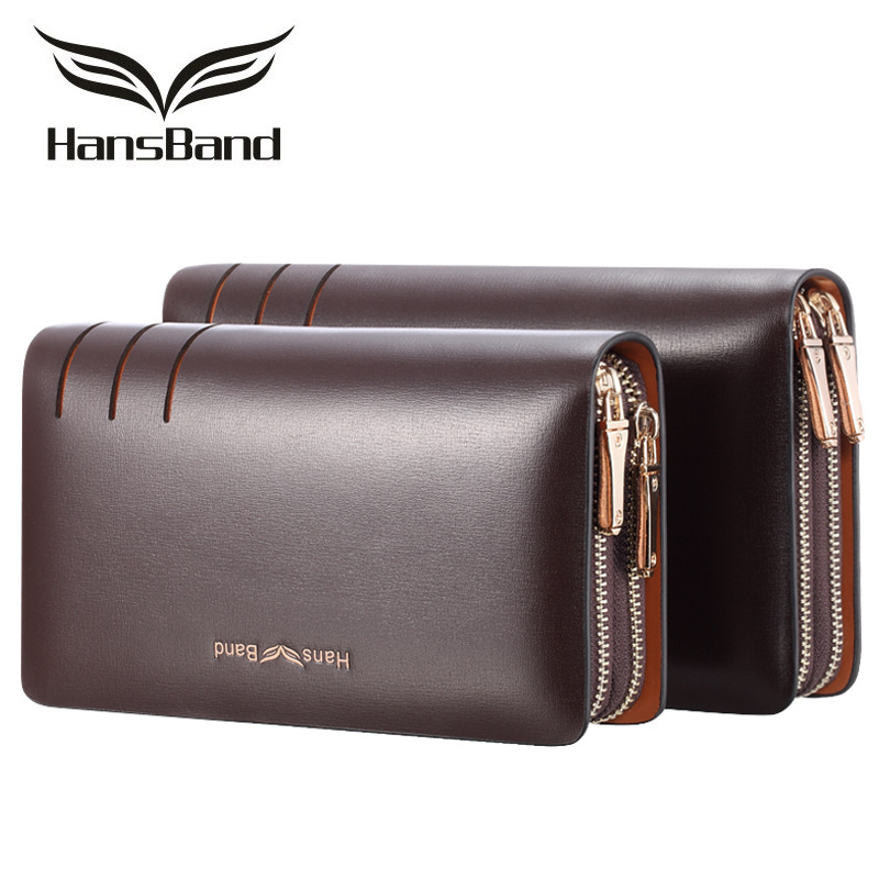 New Business Split Leather Men's Clutch Bags Double Zipper Handbags Large Capacity Long Cowhide Men Wallet Purses Card holder