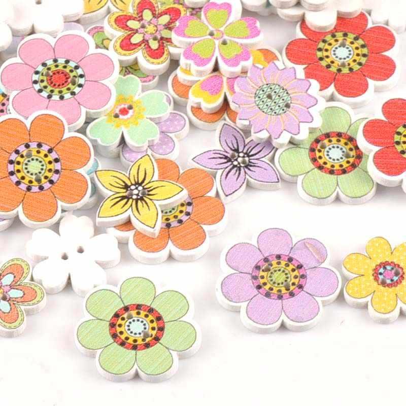 Los botones de flor de acrílico blanco 16mm Coser en 2 agujeros 50 Piezas Coser fabricación de joyas