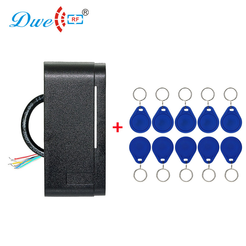 Access control rf id card 12v rfid reader 125khz antenna wiegand 26 gate card reader with 10 pieces keyfob