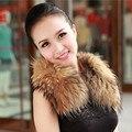 Verdadeira Raposa Gola De Pele Casaco de Inverno Mulheres 100% Natural Fox Cachecol Gola de pele de Moda Quente Natural Fur Collar Sólidos Lenços C #02