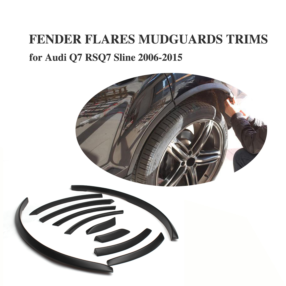 PU Черный колеса автомобиля Fender арки Flare охватывает Арка полосы планки наклейки для Audi Q7 RSQ7 Sline 2006-2015 автомобильные аксессуары