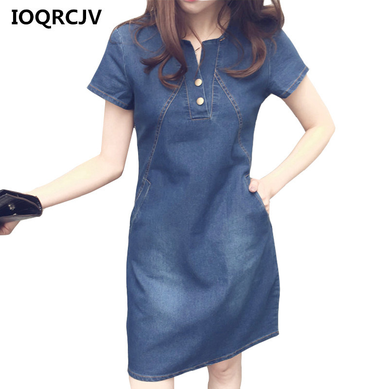 Korean Denim Dress For Women 2020 New Summer Casual Jeans Dress With Button Pocket Sexy Denim Mini Dress Plus Size 5XL R183(China)