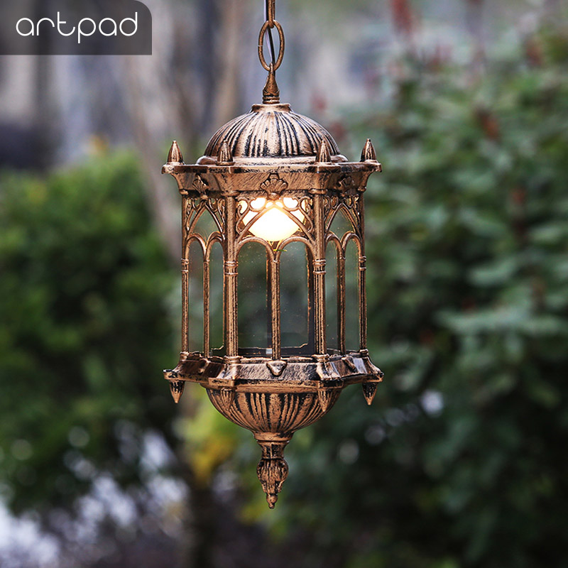 Artpad Europe Decoration Waterproof Outdoor Hanging Lights Glass Shade Courtyard Villa Pavilion LED Garden Hanging Lights Lamp