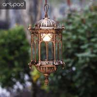 Artpad decoración Europea impermeable al aire libre luces colgantes Pantalla de Cristal patio Villa pabellón LED jardín luces colgantes lámpara