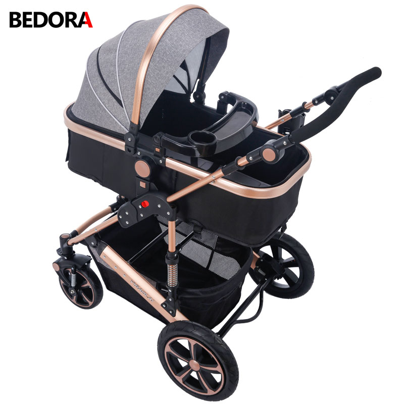 Bedora High Landscape Baby Stroller Four Seasons kids For 0-3 Years Old Free Shipping Multi-Position Adjustment trolley 9 Gifts