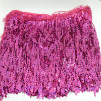 15cm 30cm Wide Gold Rose Silver AB Color Sequin Tassel Trim Luxury Fringe Fringing For Latin