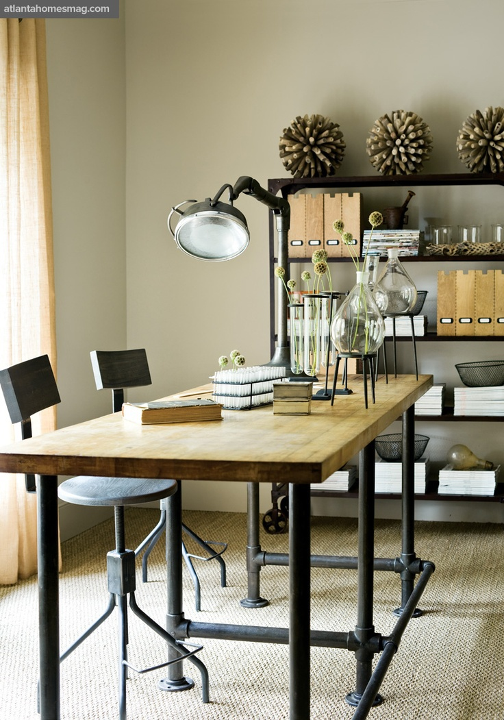 American Iron And Old Pine Table Desk Industrial Design Long Painted  Wrought Iron Tables , Wrought Iron Bar Chairs In Computer Desks From  Furniture On ...